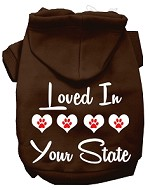 Loved In Alaska Screen Print Souvenir Dog Hoodie Brown XS