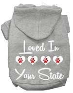 Loved In Alaska Screen Print Souvenir Dog Hoodie Grey XS