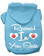 Rescued In Indiana Screen Print Souvenir Dog Hoodie Baby Blue XS