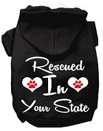 Rescued In Indiana Screen Print Souvenir Dog Hoodie Black XS
