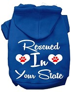 Rescued In Indiana Screen Print Souvenir Dog Hoodie Blue XS