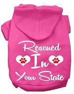 Rescued In Indiana Screen Print Souvenir Dog Hoodie Bright Pink XS