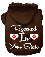 Rescued In Indiana Screen Print Souvenir Dog Hoodie Brown XS