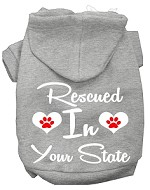 Rescued In Indiana Screen Print Souvenir Dog Hoodie Grey XS