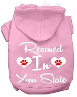 Rescued In Indiana Screen Print Souvenir Dog Hoodie Light Pink XS
