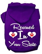 Rescued In Indiana Screen Print Souvenir Dog Hoodie Purple XS