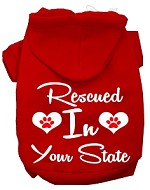 Rescued In Indiana Screen Print Souvenir Dog Hoodie Red XS
