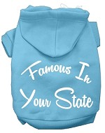 Famous In Kansas Screen Print Souvenir Dog Hoodie Baby Blue MD