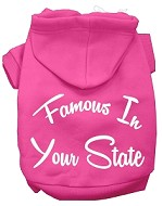 Famous In Kansas Screen Print Souvenir Dog Hoodie Bright Pink SM