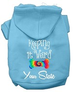 Keeping it Weird West Virginia Screen Print Souvenir Dog Hoodie Baby Blue XS