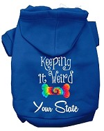 Keeping it Weird West Virginia Screen Print Souvenir Dog Hoodie Blue XS