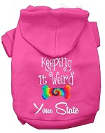 Keeping it Weird West Virginia Screen Print Souvenir Dog Hoodie Bright Pink XS