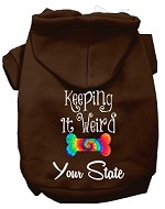 Keeping it Weird West Virginia Screen Print Souvenir Dog Hoodie Brown XS