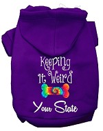 Keeping it Weird West Virginia Screen Print Souvenir Dog Hoodie Purple XS
