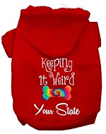 Keeping it Weird West Virginia Screen Print Souvenir Dog Hoodie Red XS