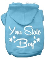 Iowa Boy Screen Print Souvenir Dog Hoodie Baby Blue XS