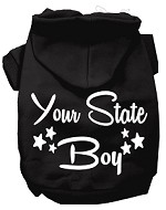 Iowa Boy Screen Print Souvenir Dog Hoodie Black XS
