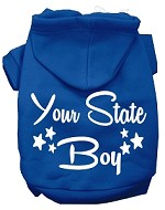 Iowa Boy Screen Print Souvenir Dog Hoodie Blue XS
