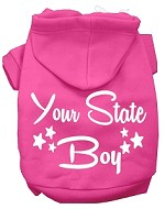 Iowa Boy Screen Print Souvenir Dog Hoodie Bright Pink XS