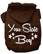 Iowa Boy Screen Print Souvenir Dog Hoodie Brown XS