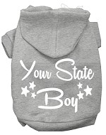 Iowa Boy Screen Print Souvenir Dog Hoodie Grey XS