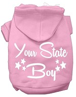 Iowa Boy Screen Print Souvenir Dog Hoodie Light Pink XS
