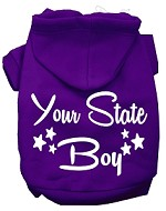 Iowa Boy Screen Print Souvenir Dog Hoodie Purple XS