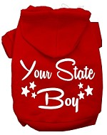 Iowa Boy Screen Print Souvenir Dog Hoodie Red XS
