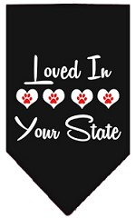 Loved in Wyoming Screen Print Souvenir Pet Bandana Black Small