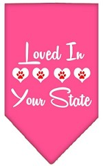 Loved in Wyoming Screen Print Souvenir Pet Bandana Bright Pink Small