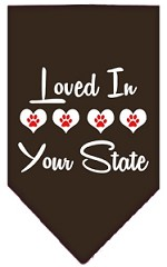 Loved in Wyoming Screen Print Souvenir Pet Bandana Cocoa Small