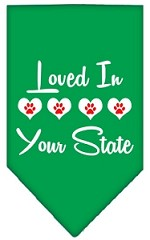 Loved in Wyoming Screen Print Souvenir Pet Bandana Emerald Green Small