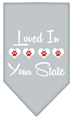 Loved in Wyoming Screen Print Souvenir Pet Bandana Grey Small