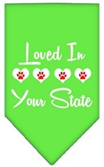 Loved in Wyoming Screen Print Souvenir Pet Bandana Lime Green Small