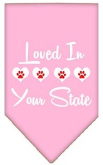 Loved in Wyoming Screen Print Souvenir Pet Bandana Light Pink Small