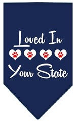 Loved in Wyoming Screen Print Souvenir Pet Bandana Navy Blue Small