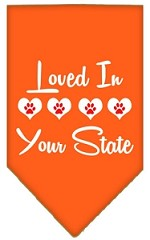 Loved in Wyoming Screen Print Souvenir Pet Bandana Orange Small