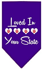 Loved in Wyoming Screen Print Souvenir Pet Bandana Purple Small