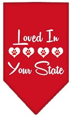 Loved in Wyoming Screen Print Souvenir Pet Bandana Red Small