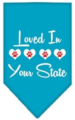 Loved in Wyoming Screen Print Souvenir Pet Bandana Turquoise Small