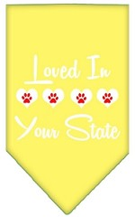 Loved in Wyoming Screen Print Souvenir Pet Bandana Yellow Small