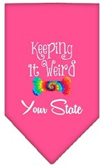 Keeping it Weird Connecticut Screen Print Souvenir Pet Bandana Bright Pink Small