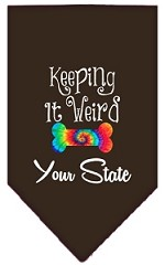 Keeping it Weird Connecticut Screen Print Souvenir Pet Bandana Cocoa Small