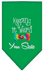 Keeping it Weird Connecticut Screen Print Souvenir Pet Bandana Emerald Green Small