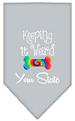 Keeping it Weird Connecticut Screen Print Souvenir Pet Bandana Grey Small
