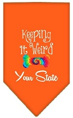 Keeping it Weird Connecticut Screen Print Souvenir Pet Bandana Orange Small