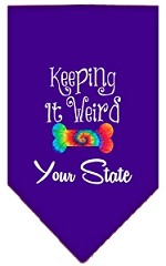 Keeping it Weird Connecticut Screen Print Souvenir Pet Bandana Purple Small
