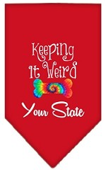 Keeping it Weird Connecticut Screen Print Souvenir Pet Bandana Red Small