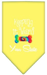 Keeping it Weird Connecticut Screen Print Souvenir Pet Bandana Yellow Small