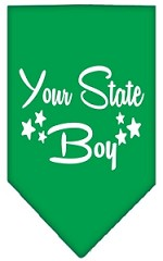 North Dakota Boy Screen Print Souvenir Pet Bandana Emerald Green Small